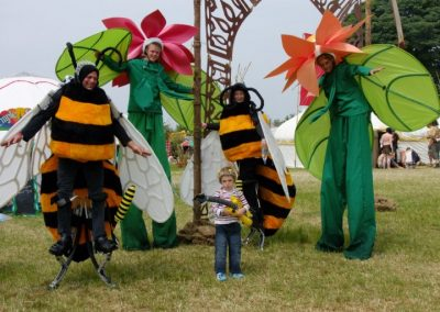 Bees & Flowers Environmental Stilt Characters Jimmy Juggle